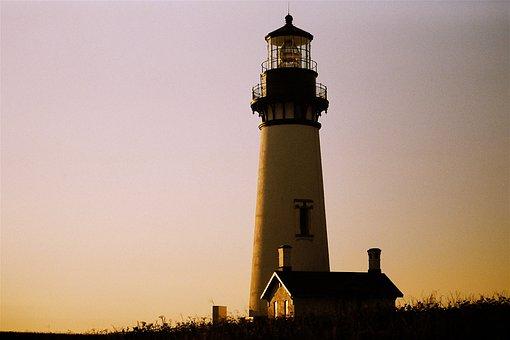 Lighthouse, Coast, Sunset, Sunrise, Dawn, Dusk, Tower
