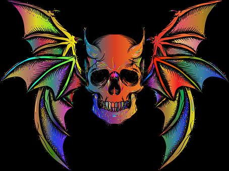 Skull, Wings, Horns, Devil, Death, Demon, Evil, Bones