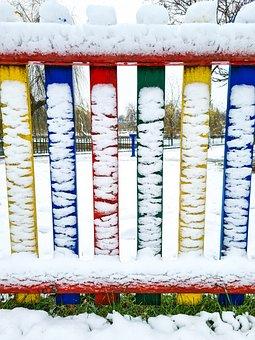 Fence, Colorful, Nature, Winter, Snow, Colors, Park