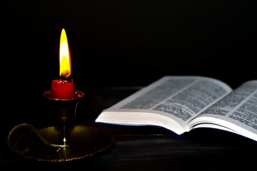 Candle Holders, Bible, Light, Flame, Fire, Mourning