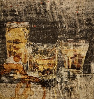 Alcohol, Glasses, Painting, Beer, Whiskey, Drink