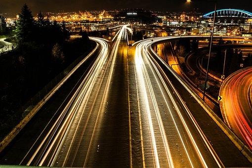 Road, Lights, Night, Traffic, Highway, Roadway, City