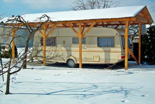 Camping, Winter, Snow, Sky, Trailer, Holiday, Tourism