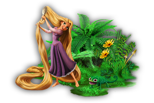 Rapunzel, Tangled, Island, Plants, Chameleon, Animal