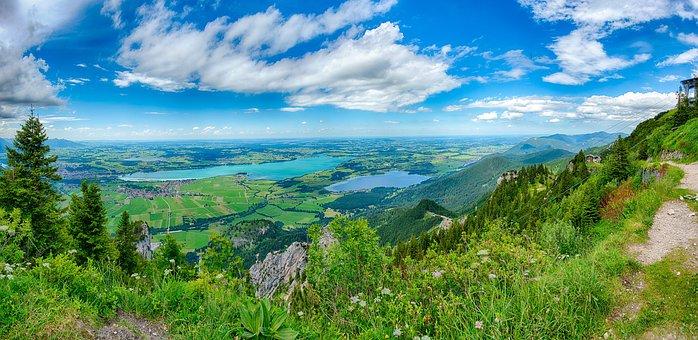 Lake Forggensee, Füssen, Allgäu, Tegelberg, Lake