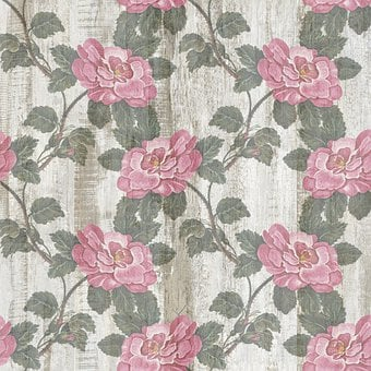 Roses, Wood, Background, Pattern, Flora, Floral