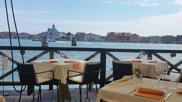Venice, Restaurant, Sea, Terrace