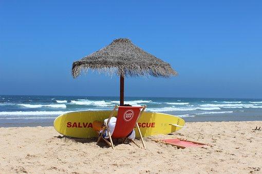 Beach Watch, Beach, Sea, Parasol, Surfboard, Lifeguard