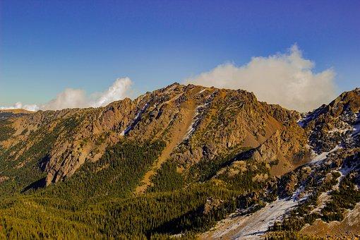 Mountain, Peak, Sky, Clouds, Summit, Trees