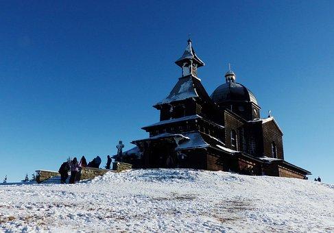 Winter, Snow, Mountains, Cold, Chapel, Radhošť