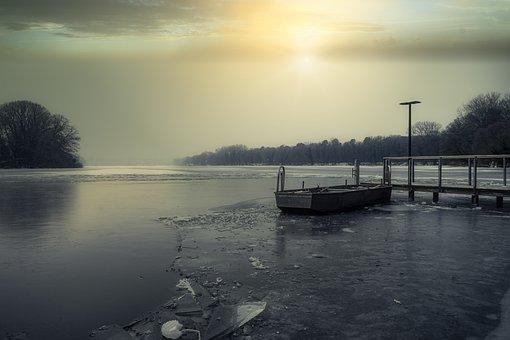 Lake, Ice, Frost, Winter, Boat, Sun