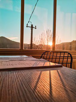 Sunset, Sky, The Light Of The Sun, Window, Table
