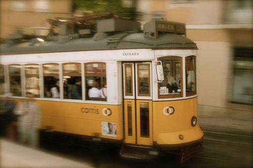 Lisbon, Tram, Port, Portugal, Transport, Travel, Lisboa