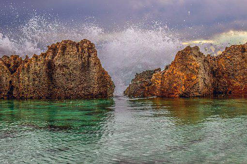 Rocks, Waves, Splash, Rocky Coast, Spray, Wind, Motion