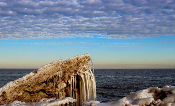 Ice, Icicles, Frozen, Lake Michigan, Winter, Cold
