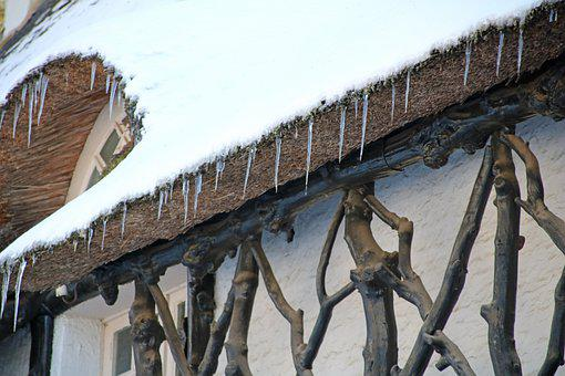 Snow, White, Ice, Icicle, Winter, House, Roof, Wood