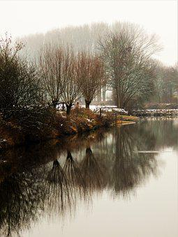 River, Trees, Winter, Reflection, Water, Bank, Snow