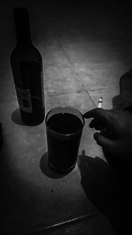 Alcohol, Cigarette, Wine, Black And Grey, Grey, Black