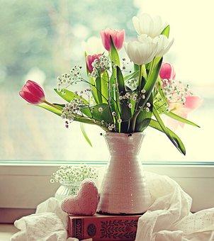 Tulips, Flowers, Vase, Bouquet, Window, Window Sill