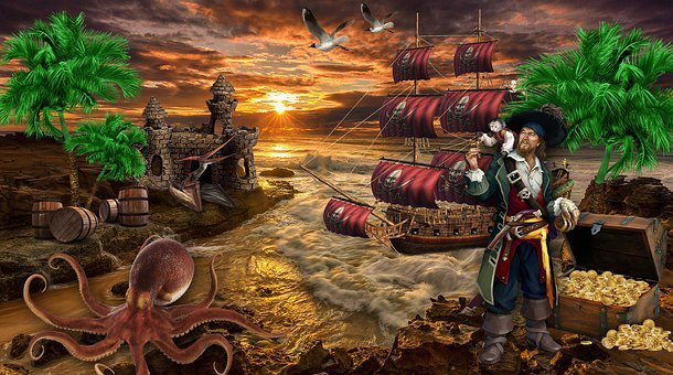 Pirate, Treasures, Island, Castle, Creatures