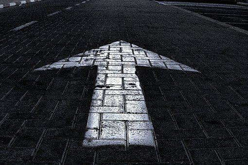Arrow, Pavement, Black And White, Direction, Traffic