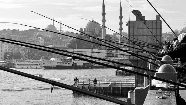 Fishermen, Fishing Rod, Port, Boats, Galata, Istanbul