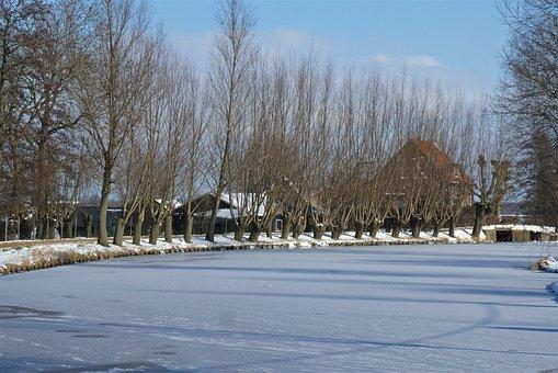 Vlist, Holland, River, Frozen, Ice, Winter, Frost