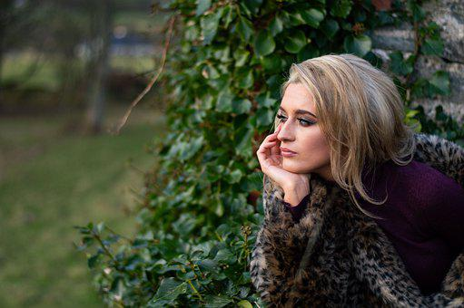 Woman, Model, Ivy, Greenery, Young, Fur Coat, Garden