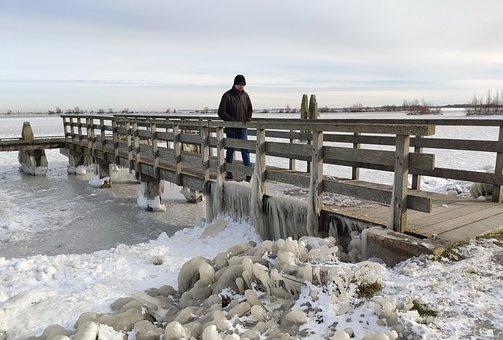 Bridge, Man, Water, Ice, Ijsselmeer, Nature, Landscape