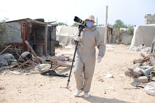 Man, Camera, Journalist, Press, Suit, Face, Mask