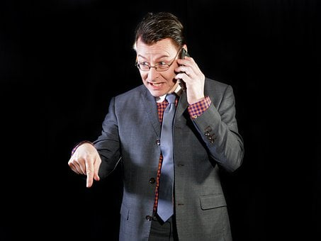Man, Manager, Boss, Kaufmann, Suit, Tie, On The Phone