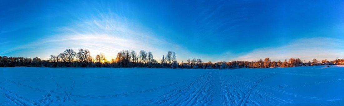 Landscape, Snow, Panorama, Cold, Sun, Sunrise, Away