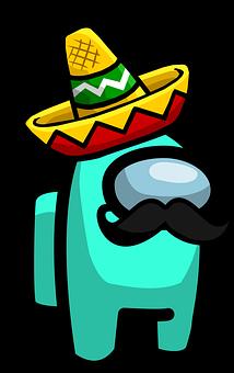 Character, Sombrero, Mustache, Among Us, Mexico