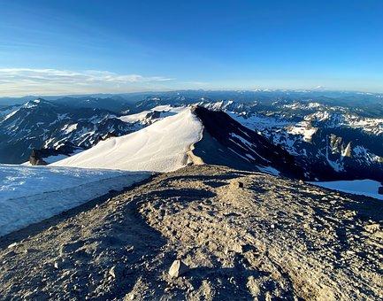 Mountains, Snow, Trail, Ice, Symmetry