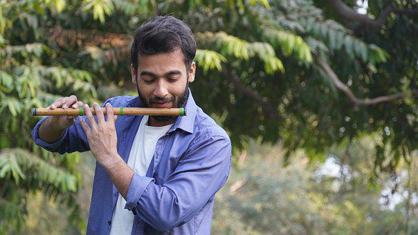 Flute, Indian, Music, Raindrops, Play, Player, Leaves