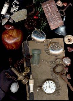 Agate, Time, Pocket Watch, Eyeglasses, Book, Elk, Clock