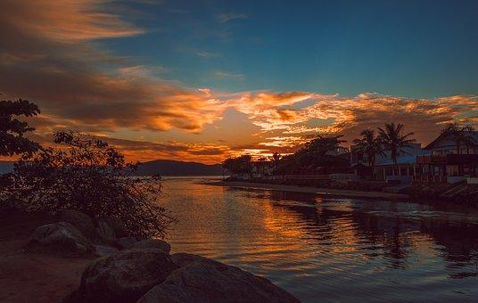 River, Town, Dawn, Sunrise, Sunlight, Bank, Buildings