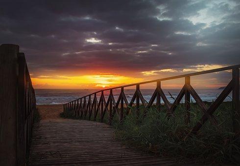 Wooden Walkway, Beach, Dawn, Sunrise, Sun, Sunlight