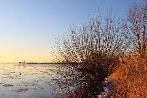 Sunset, River, Nature, Landscape, Elbe
