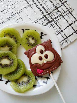 Kiwi, Plate, Chocolate, Sweets, Tasty, Green, Food