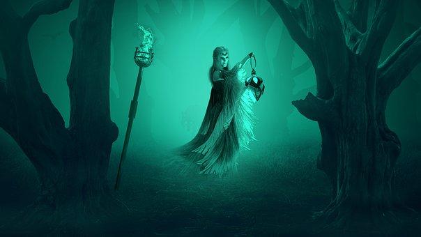 Witch, Forest, Fantasy, Fog, Torch, Fire, Lantern