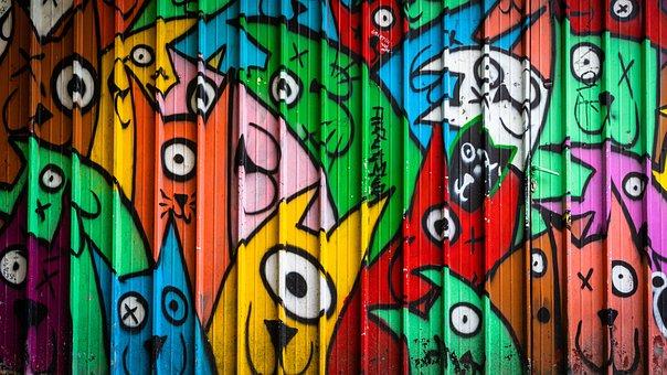 Graffiti, Wallpaper, Paint, Wall, Urban, Colorful