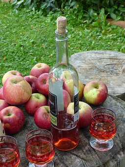 Wine, A Bottle, Apples