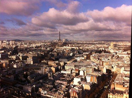 Paris, Eiffel Tower, Montparnasse, Clouds, Aerial View