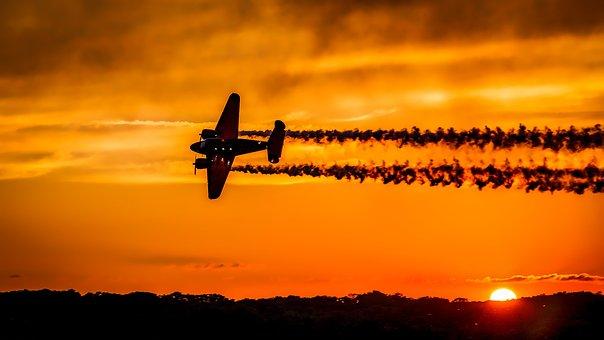 Sunset, Airplane, Aircraft, Flight, Contrails, Sky