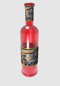 Bottle, Wine, Label, Glass, Red, Empty