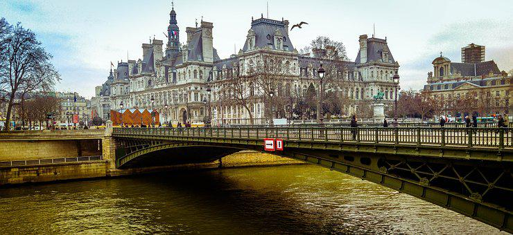 Paris, Bridge, Seine, River, Landscape, Palace