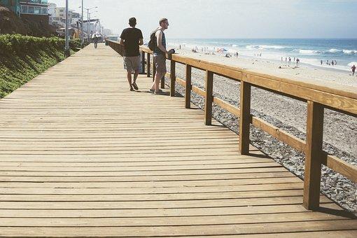 Pier, Boardwalk, Beach, Ocean, Sea, Water, Coast