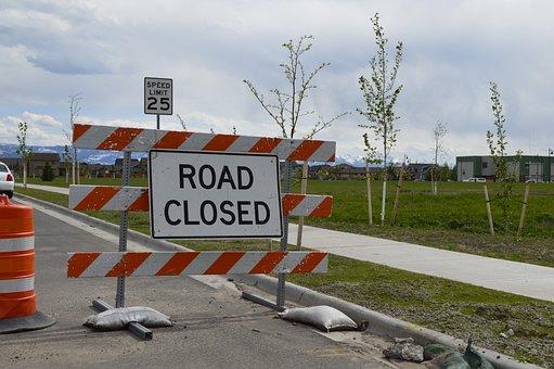 Road Closed, Sidewalk Closed, Construction, Urban
