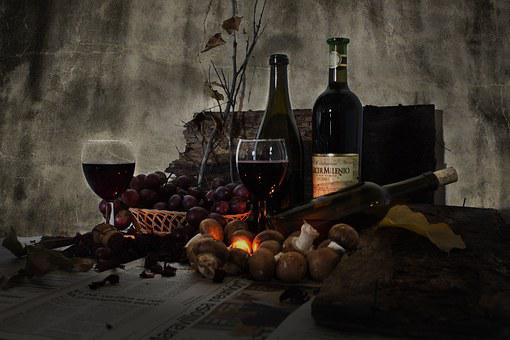 Still Life, Wine, Bottles, Cup, Red Wine